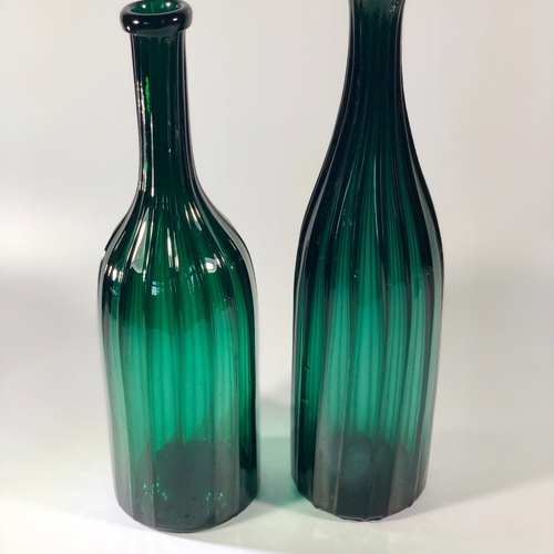 19th Century hand blown fluted glass bottle decanters