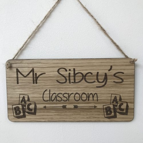 Classroom door plaque