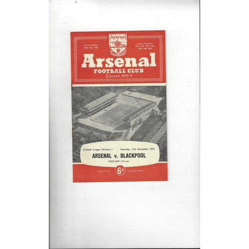 1955/56 Arsenal v Blackpool Football Programme
