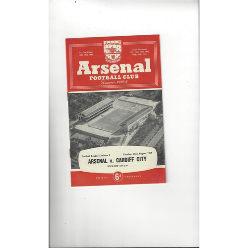 1955/56 Arsenal v Cardiff City Football Programme