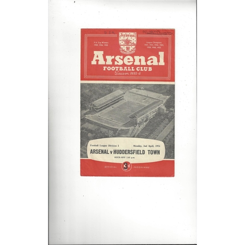 1955/56 Arsenal v Huddersfield Town Football Programme