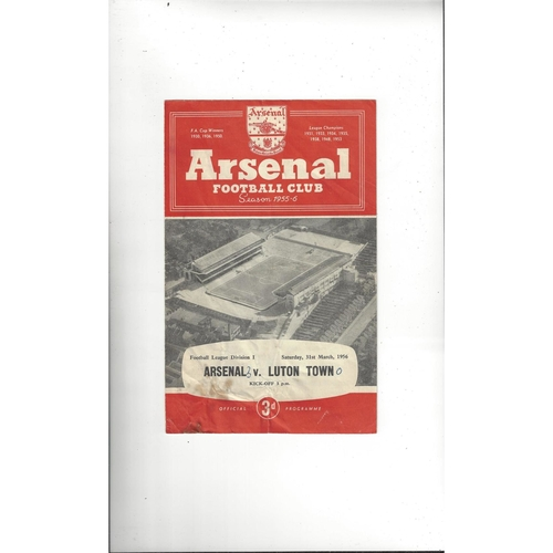 1955/56 Arsenal v Luton Town Football Programme