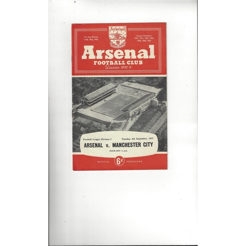 1955/56 Arsenal v Manchester City Football Programme