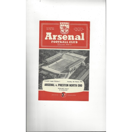 1955/56 Arsenal v Preston Football Programme