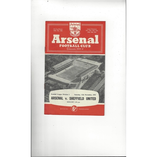 1955/56 Arsenal v Sheffield United Football Programme