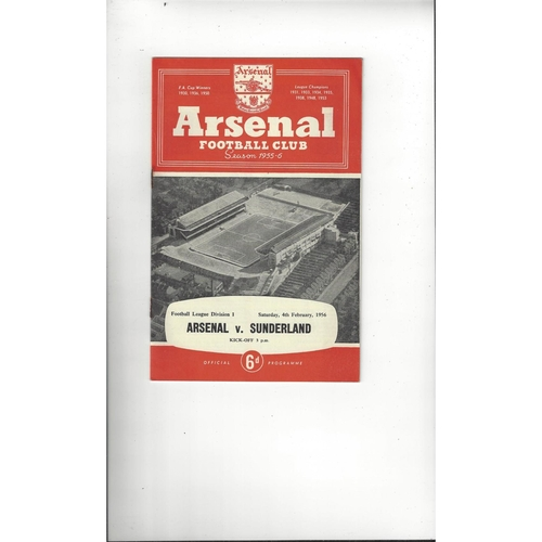 1955/56 Arsenal v Sunderland Football Programme