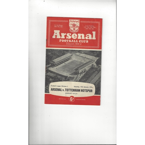1955/56 Arsenal v Tottenham Hotspur Football Programme