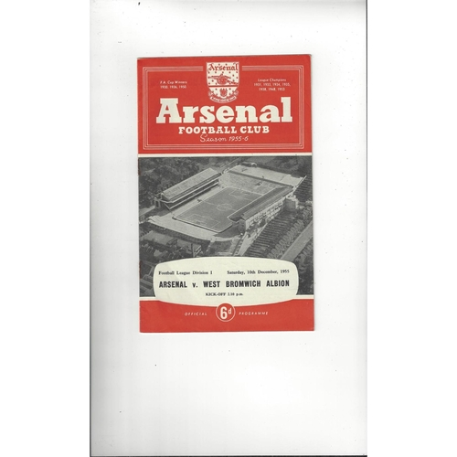 1955/56 Arsenal v West Bromwich Albion Football Programme
