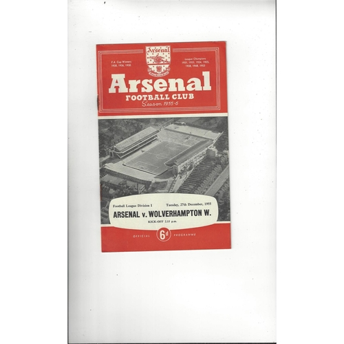 1955/56 Arsenal v Wolves Football Programme