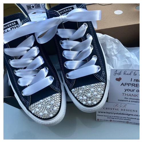 Sparkly Crystal Converse Trainers (Adults - Navy)