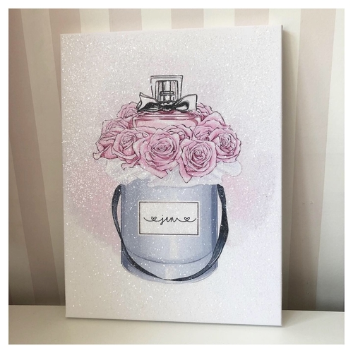 Glitter Canvas Hatbox with Floral Perfume Personalised