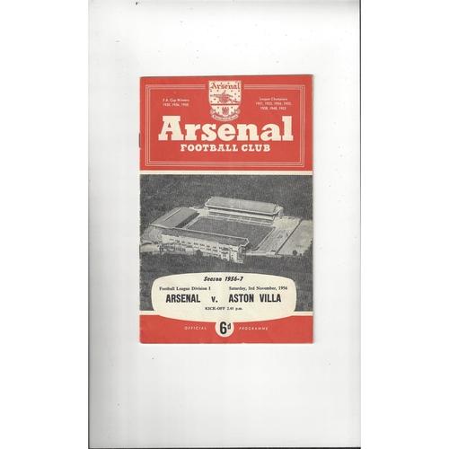 1956/57 Arsenal v Aston Villa Football Programme