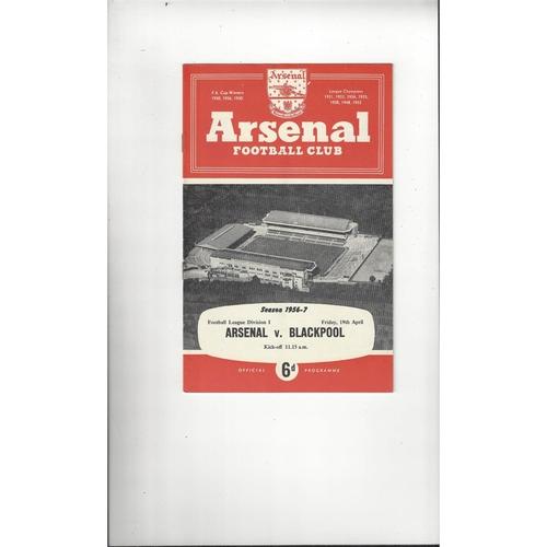 1956/57 Arsenal v Blackpool Football Programme