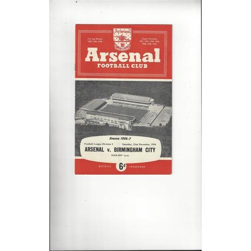 1956/57 Arsenal v Birmingham City Football Programme