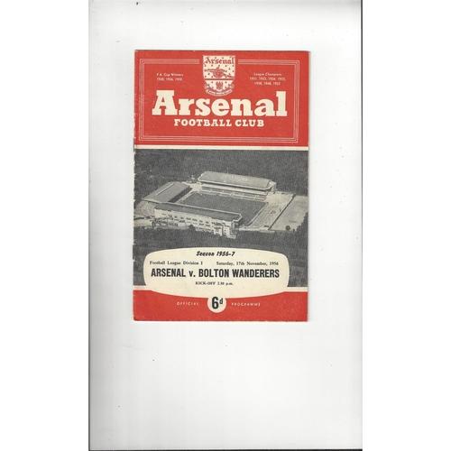 1956/57 Arsenal v Bolton Wanderers Football Programme