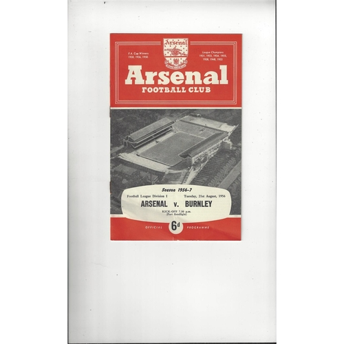1956/57 Arsenal v Burnley Football Programme