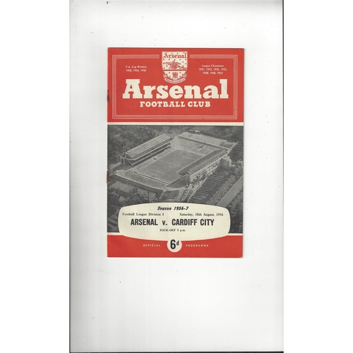 1956/57 Arsenal v Cardiff City Football Programme