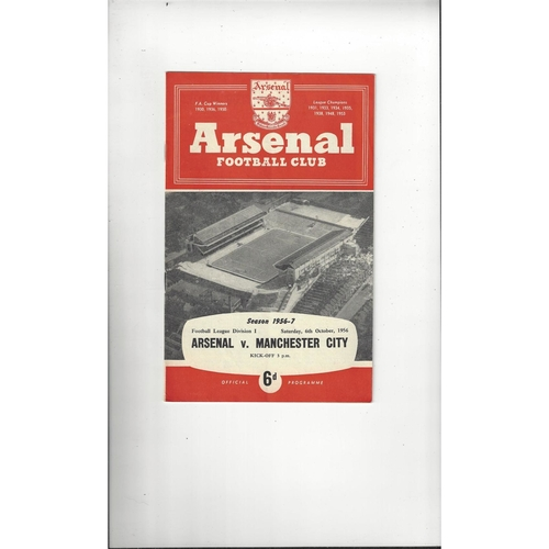 1956/57 Arsenal v Manchester City Football Programme