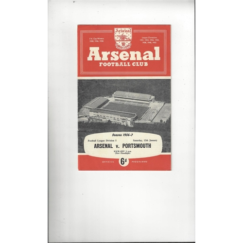 1956/57 Arsenal v Portsmouth Football Programme
