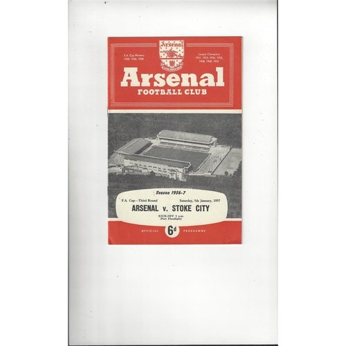 1956/57 Arsenal v Stoke City FA Cup Football Programme