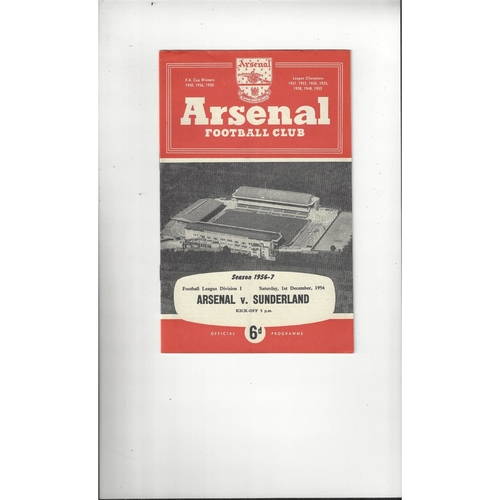 1956/57 Arsenal v Sunderland Football Programme