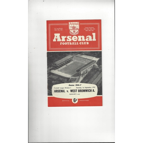 1956/57 Arsenal v West Bromwich Albion Football Programme