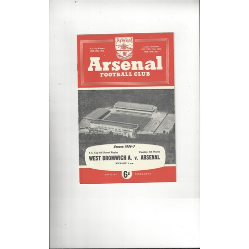 1956/57 Arsenal v West Bromwich Albion FA Cup Football Programme