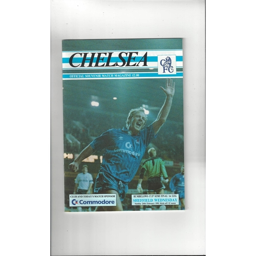 1990/91 Chelsea v Sheffield Wednesday League Cup Semi Final Football Programme
