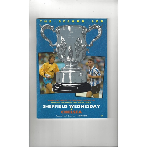 1990/91 Sheffield Wednesday v Chelsea League Cup Semi Final Football Programme