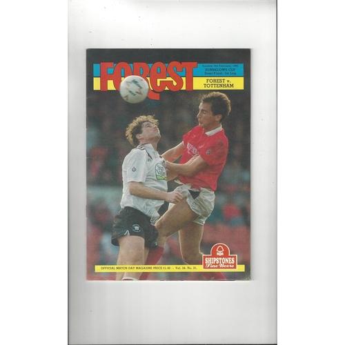 1991/92 Nottingham Forest v Tottenham Hotspur League Cup Semi Final Football Programme
