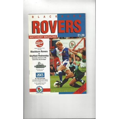 1992/93 Blackburn Rovers v Sheffield Wednesday League Cup Semi Final Football Programme