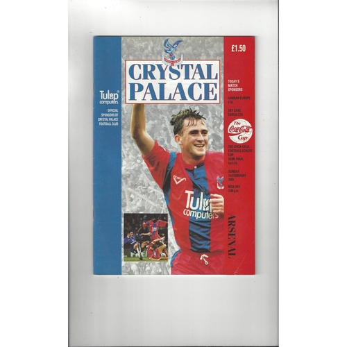 1992/93 Crystal Palace v Arsenal League Cup Semi Final Football Programme