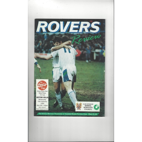 1993/94 Tranmere Rovers v Aston Villa League Cup Semi Final Football Programme