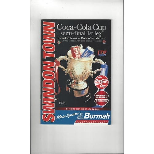 1994/95 Swindon Town v Bolton Wanderers League Cup Semi Final Football Programme