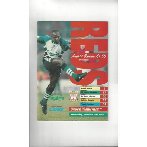 1994/95 Liverpool v Crystal Palace League Cup Semi Final Football Programme