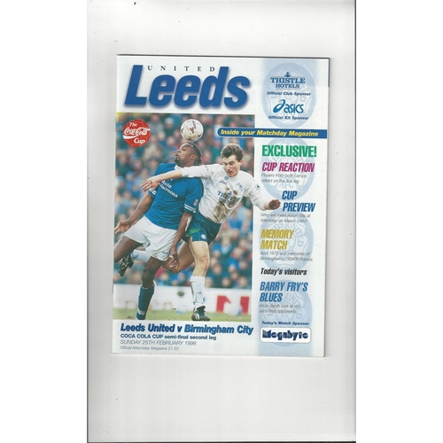 1995/96 Leeds United v Birmingham City League Cup Semi Final Football Programme