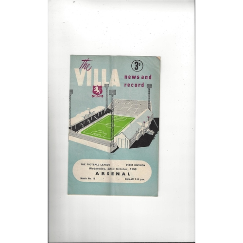 1958/59 Aston Villa v Arsenal Football Programme