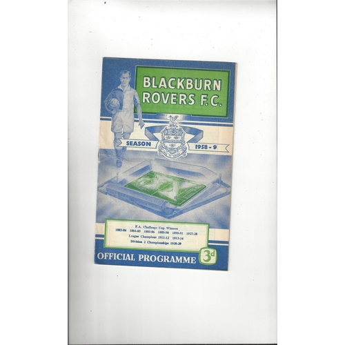1958/59 Blackburn Rovers v Arsenal Football Programme