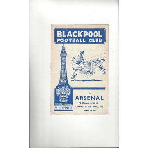 1958/59 Blackpool v Arsenal Football Programme