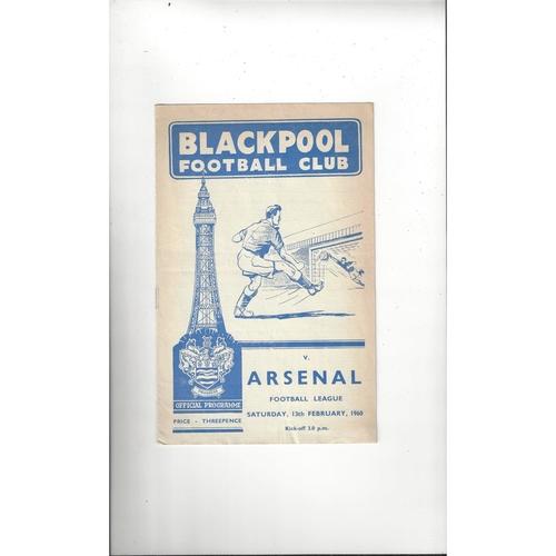 1959/60 Blackpool v Arsenal Football Programme
