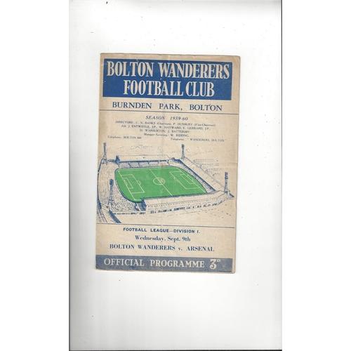 1959/60 Bolton Wanderers v Arsenal Football Programme