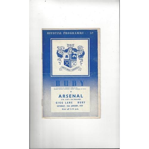 1958/59 Bury v Arsenal FA Cup Football Programme
