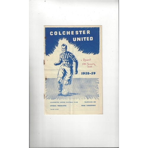 1958/59 Colchester United v Arsenal FA Cup Football Programme