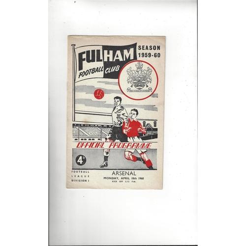 1959/60 Fulham v Arsenal Football Programme