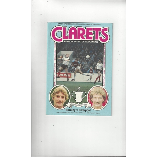1982/83 Burnley v Liverpool League Cup Semi Final Programme