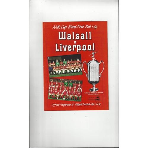 1983/84 Walsall v Liverpool League Cup Semi Final Programme