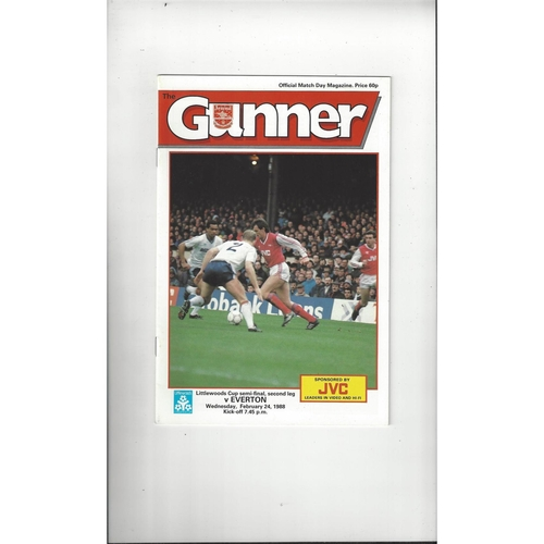 1987/88 Arsenal v Everton League Cup Semi Final Football Programme