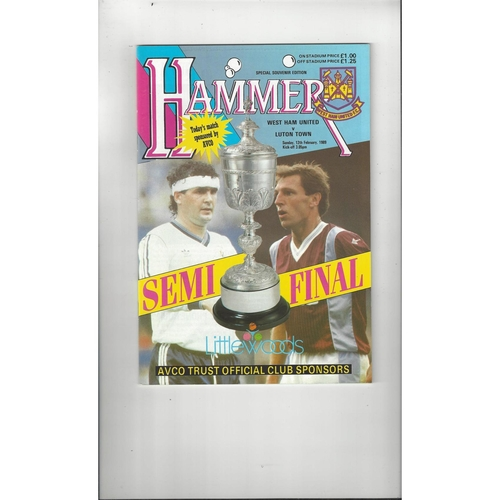 1988/89 West Ham United v Luton Town League Cup Semi Final Football Programme