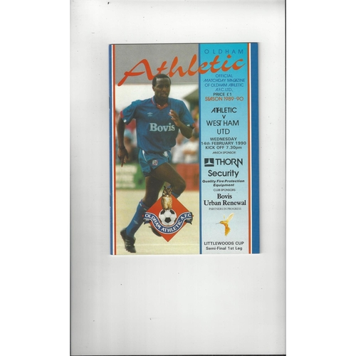 1989/90 Oldham Athletic v West Ham United League Cup Semi Final Football Programme