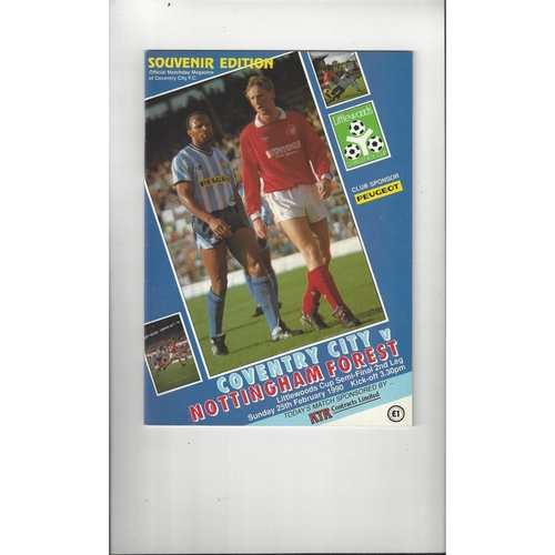 1989/90 Coventry City v Nottingham Forest League Cup Semi Final Football Programme